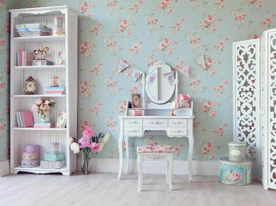 decoração com papel de parede floral estilo vintage Foto Yandex