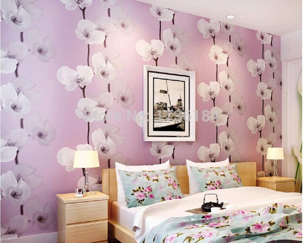 decoração com papel de parede floral para quarto de casal Foto Pinterest
