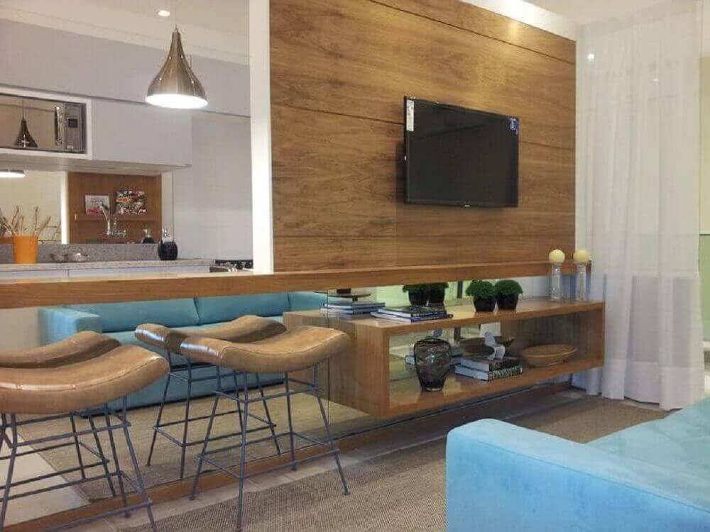 decoração com parede espelhada para cozinha americana com sala de estar Foto My Easy Decor