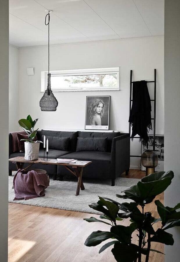 decoração de sala com sofá preto Foto Decoração e Projetos