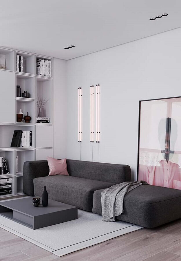 decoração de sala moderna cinza e rosa Foto Pinterest
