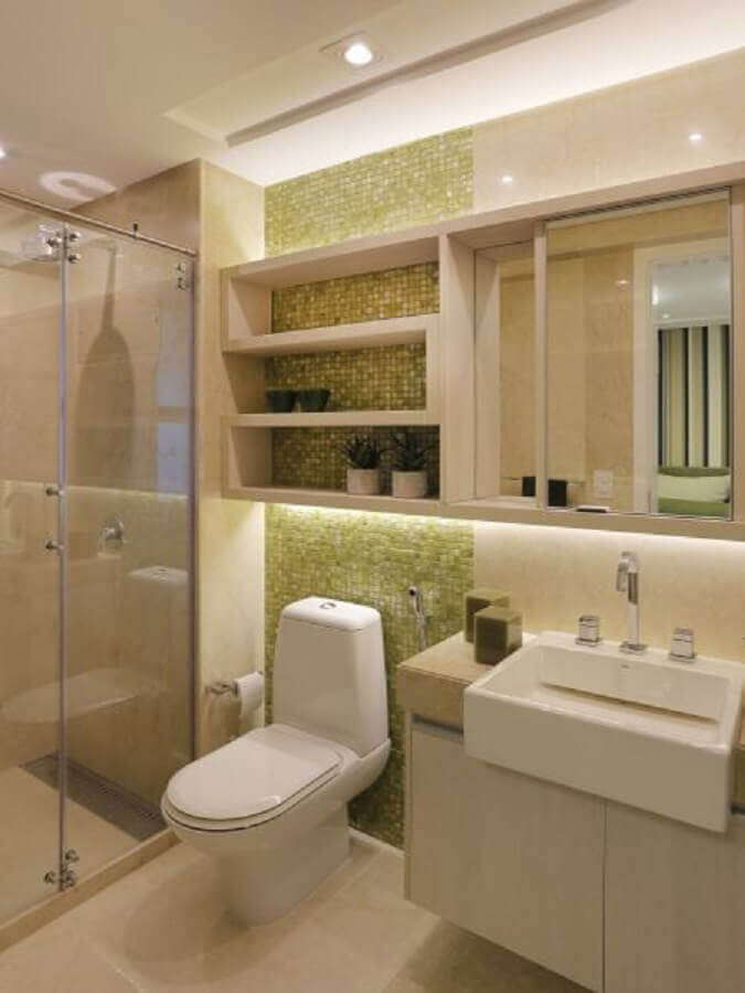 decoração em tons claros para banheiro com pastilha verde Foto Home Chairs