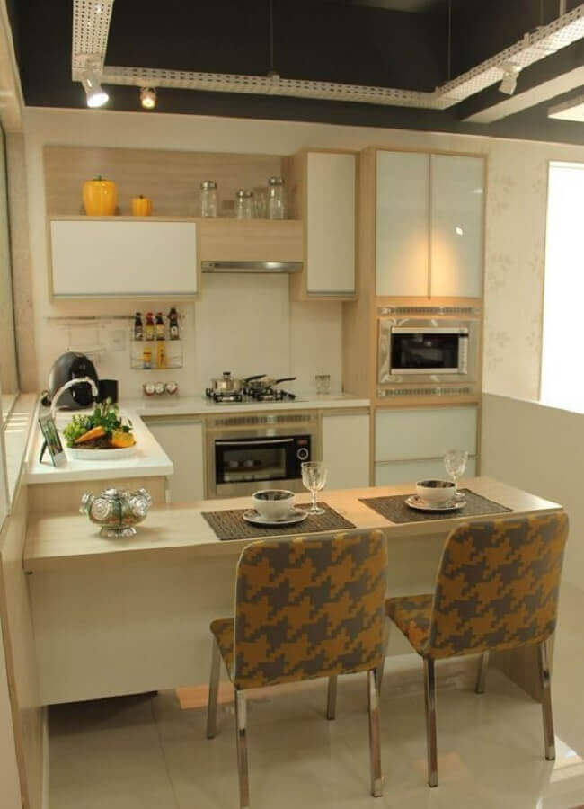 decoração em tons neutros para cozinha planejada pequena Foto Pinterest