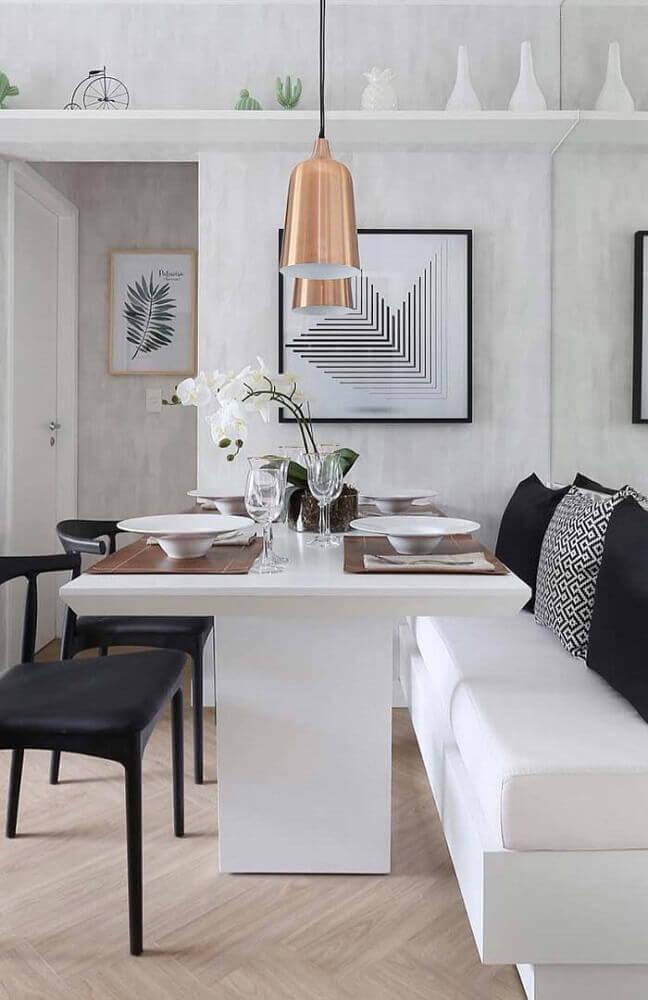 decoração minimalista com pendente para sala de jantar moderna e canto alemão Foto The Holk