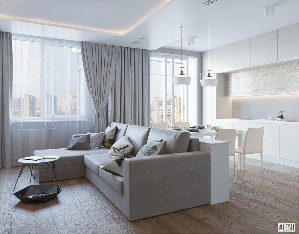 decoração minimalista para sofá cinza e armários brancos para cozinha integrada com sala de estar Foto Pinterest