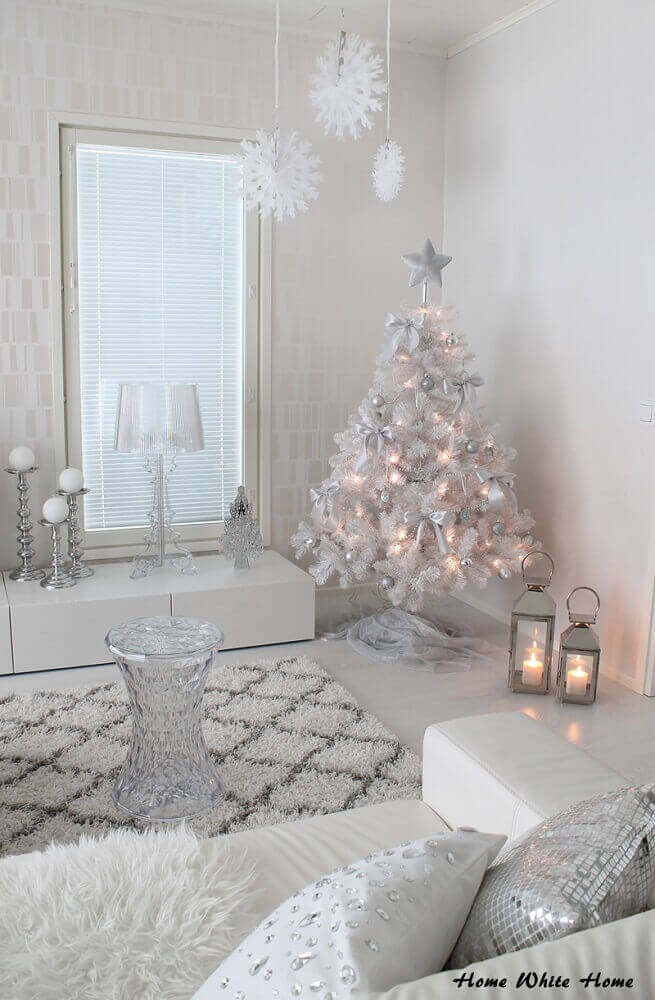 modern decoration with white and silver Christmas tree Photo Home White Home