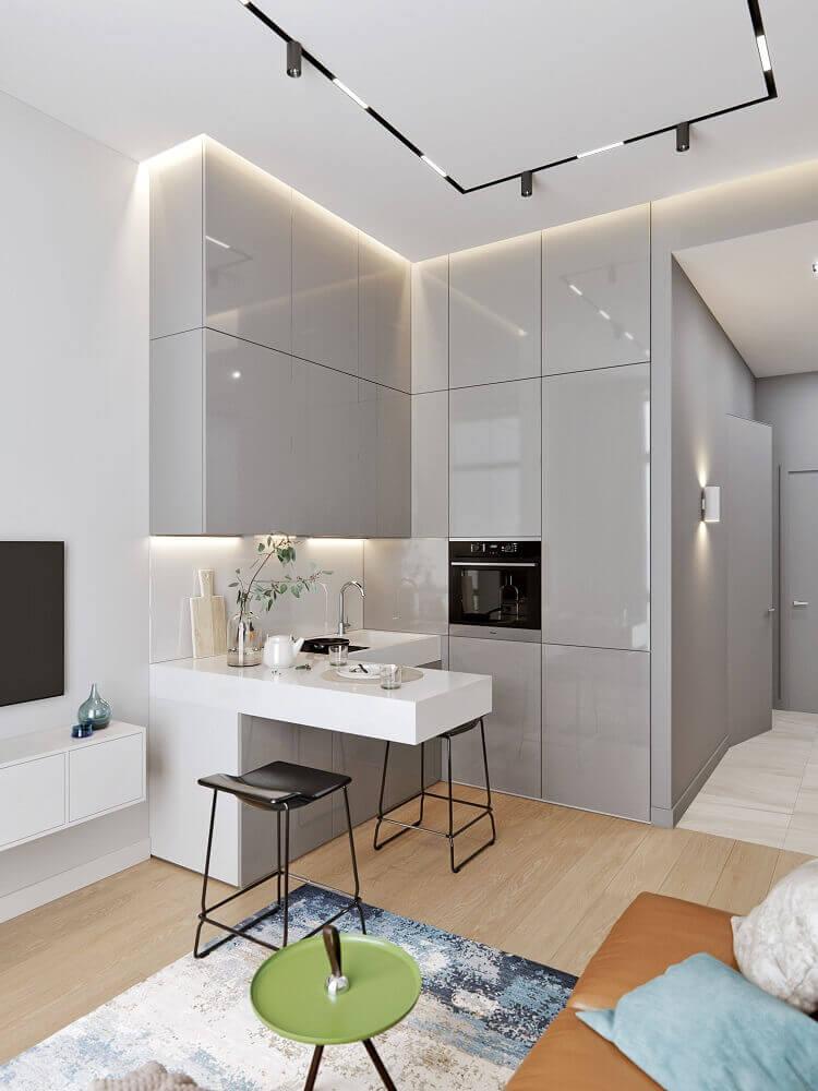 decoração moderna com armários cinza para cozinha integrada com sala de estar Foto Behance