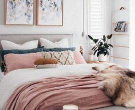 decoração moderna para quarto em tons de cinza e rosa Foto Pinterest