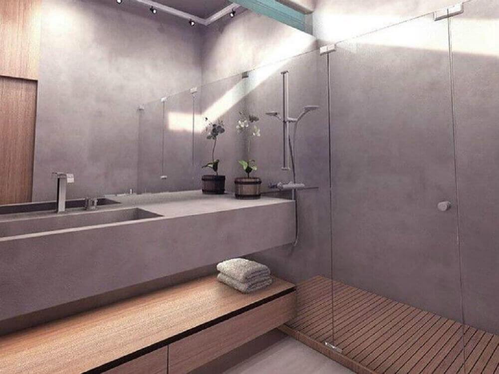 decoração para banheiro planejado moderno com cimento queimado Foto Poligonus Arquitetura