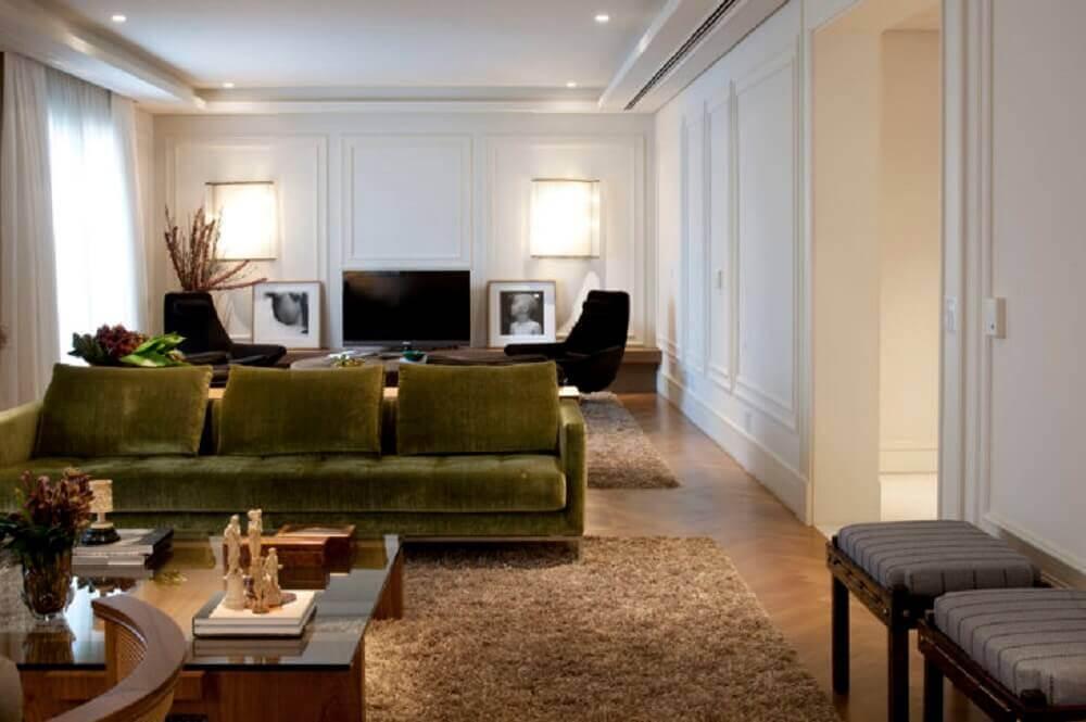 decoração para casa com boiserie gesso Foto Debora Aguiar Arquitetos