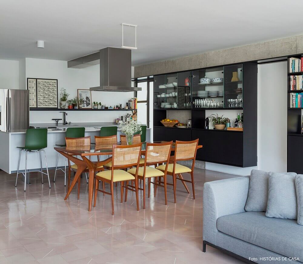 decoração para cozinha integrada com sala de jantar e estar Foto The Holk