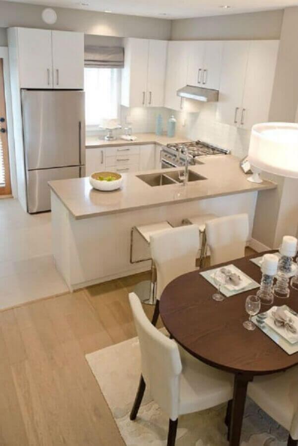 decoração para cozinha pequena planejada em tons neutros Foto Tudo Construção