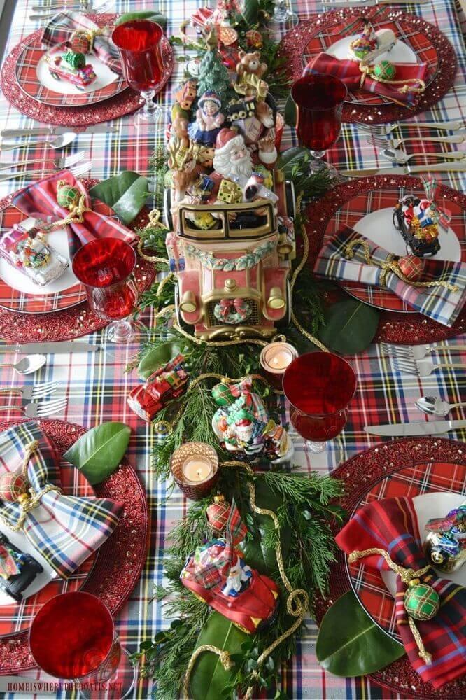 decoração para mesa de natal Foto Pinterest