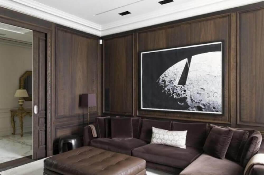 decoração para sala com boiserie de madeira Foto Roberto Migotto