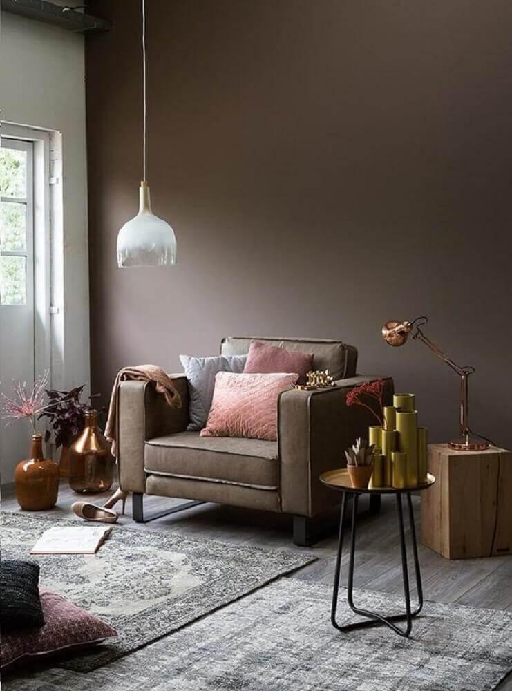 decoração para sala com móveis modernos e tons de chocolate Pinterest