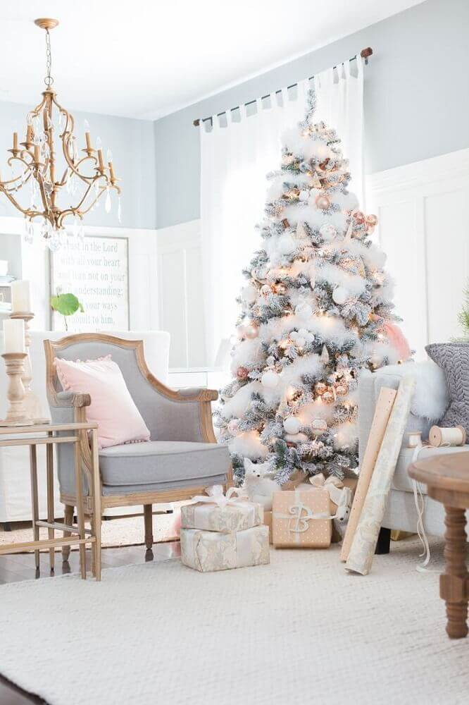 decoration for room with neutral tones and white Christmas tree Photo Azra Magazin