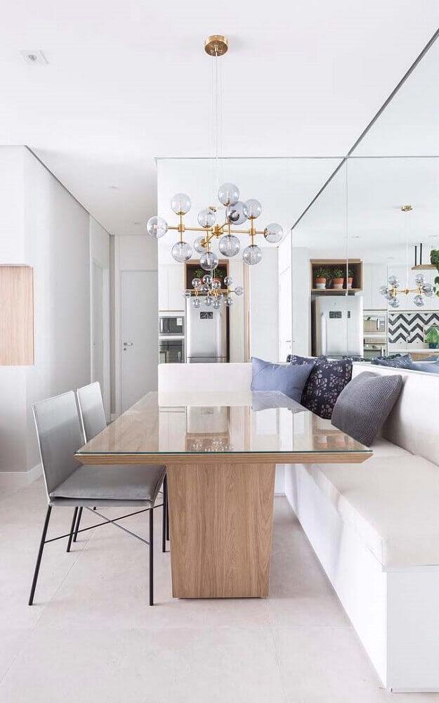 decoração para sala de jantar moderna com canto alemão e pendente minimalista Foto The Holk