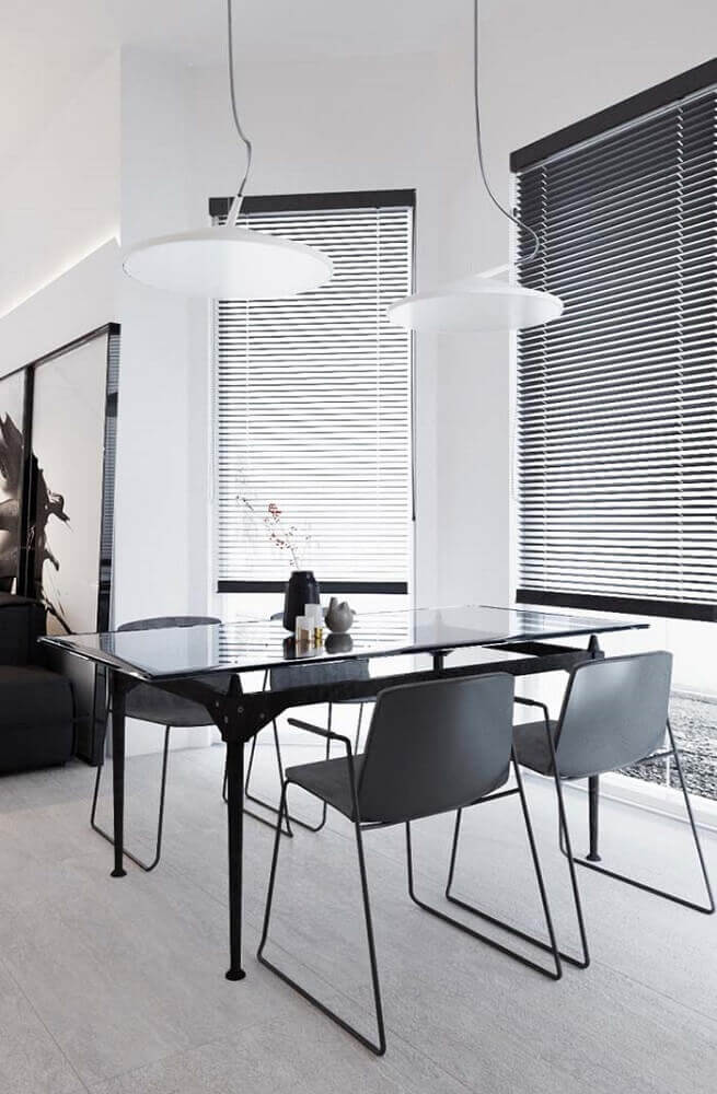 decoração preta e branca para sala de jantar moderna Foto Pinterest