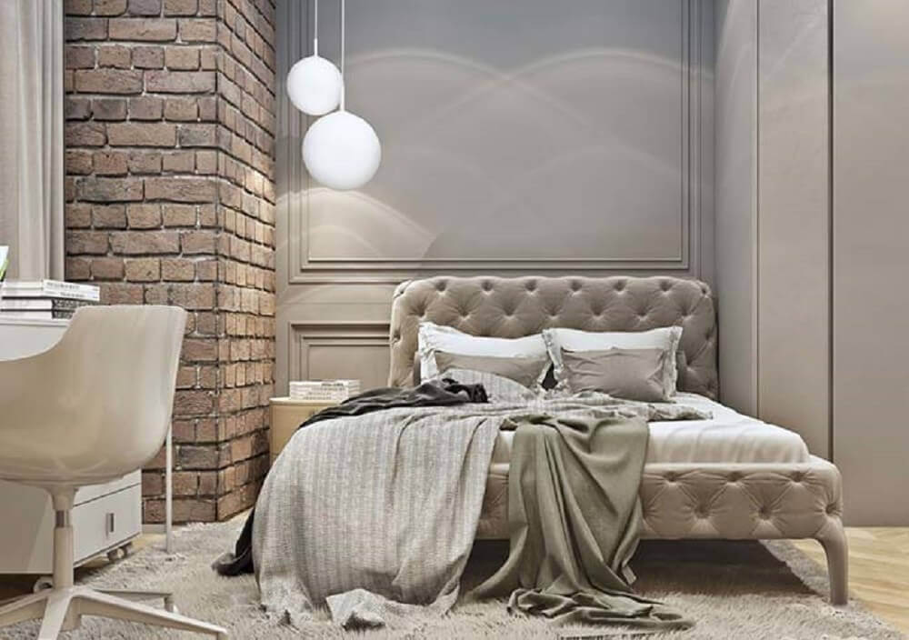 decoração rústica para quarto com boiserie e parede de tijolinho Foto Pinterest