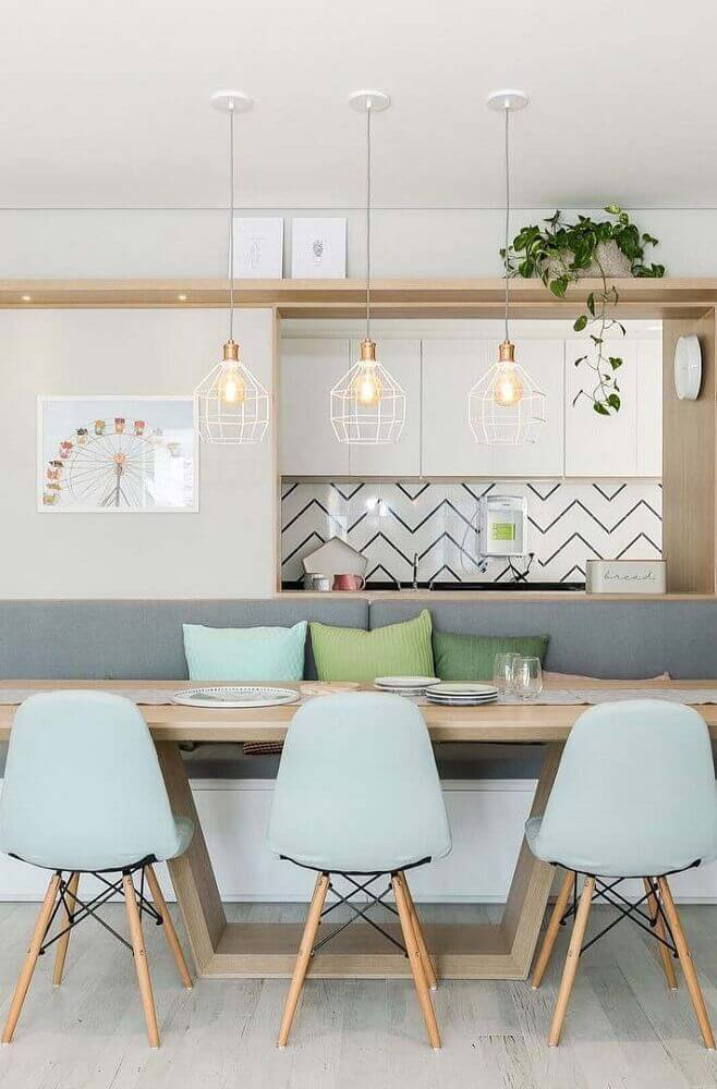 decoração sala de jantar moderna com tons pastéis Foto Interiola