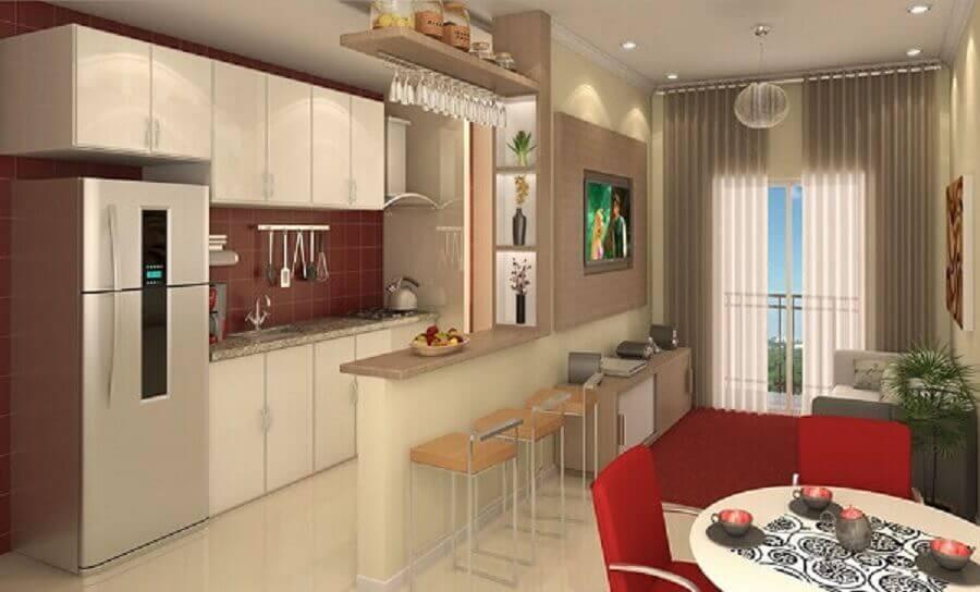 decoração simples para cozinha americana com sala pequena Foto Decorando Casas
