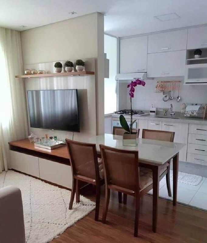decoração simples para cozinha americana pequena com sala Foto Tudo Especial