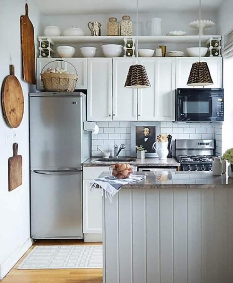 decoração simples para cozinha planejada pequena Foto Hoom Design
