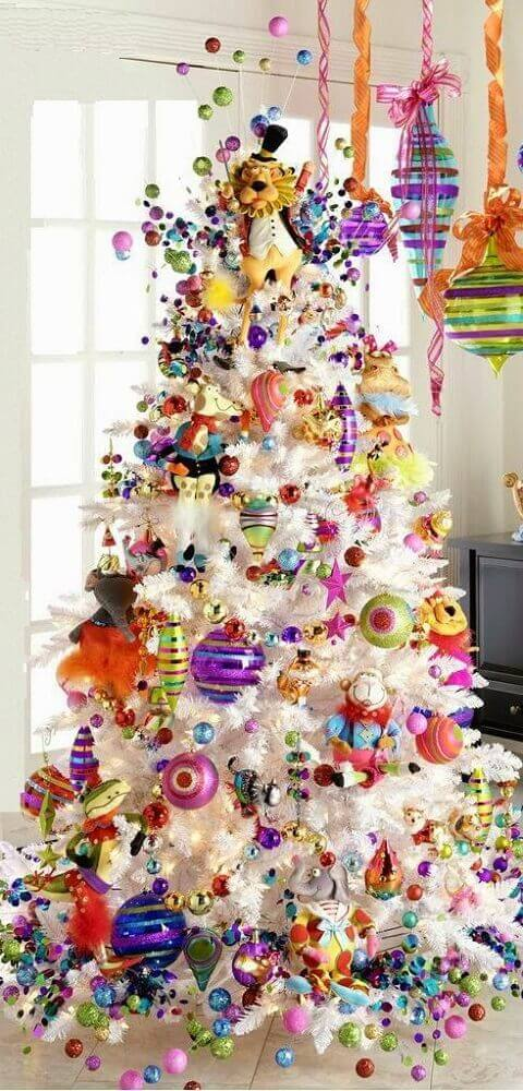 fun white Christmas tree decoration with colorful decorations Photo Canadian Living