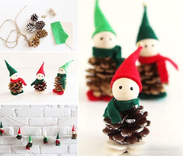 Pinhas formam lindos bonequinhos para arranjos de Natal