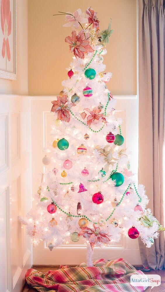 Colored Christmas tree decorations for white Christmas Photo Attagirlsays