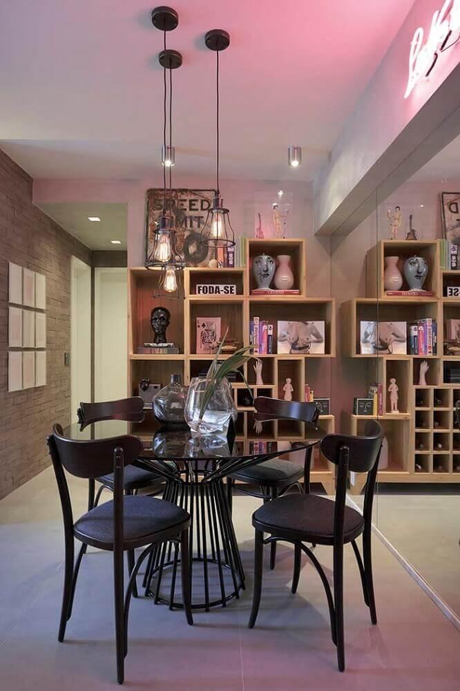 estilo contemporâneo para sala de jantar moderna com mesa redonda Foto Pinterest