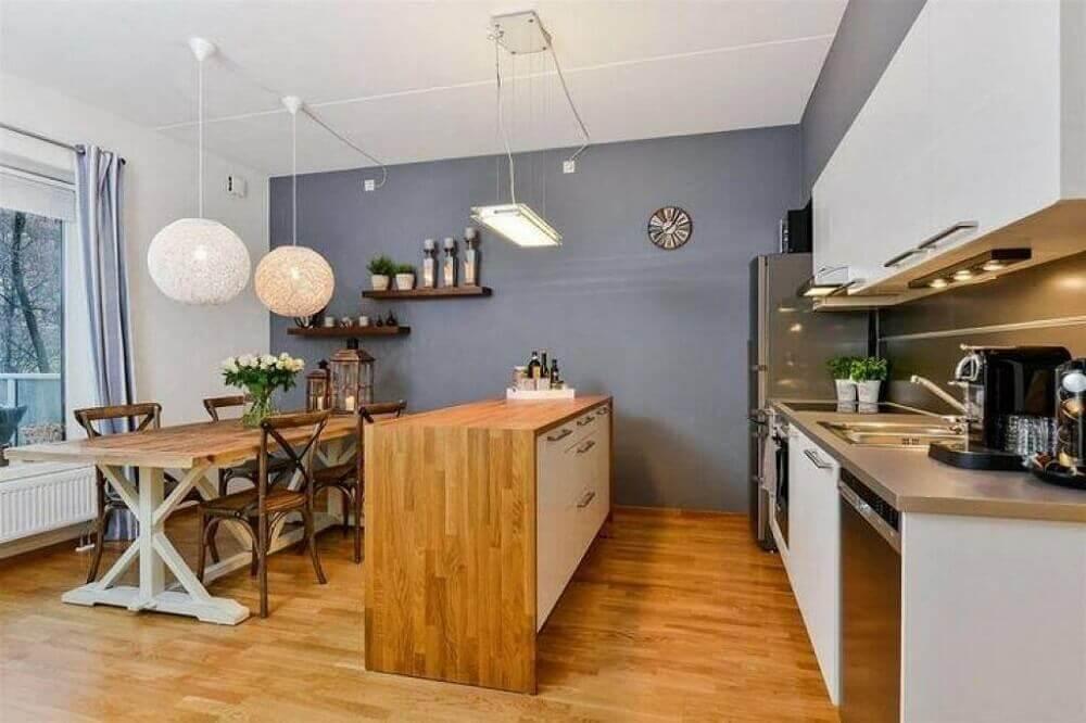 mesa e bancada de madeira para cozinha integrada com sala de jantar Foto Wood Save
