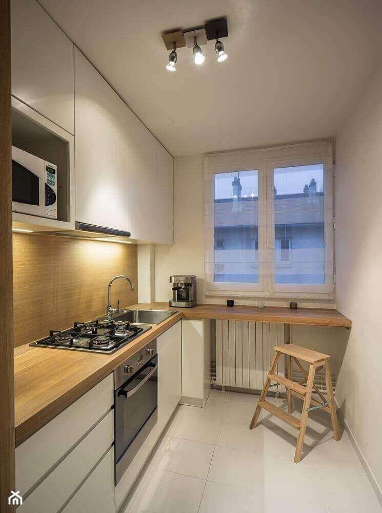 modelo de armário planejado para cozinha pequena com cooktop Foto Pinterest