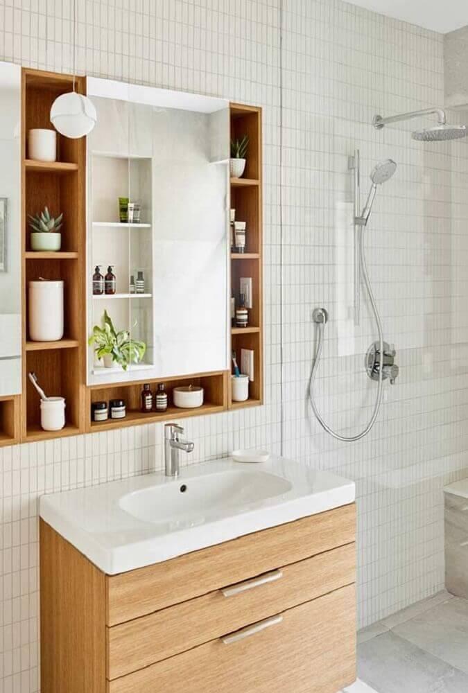 modelo de armário planejado para banheiro com decoração estilo escandinava Foto Pinterest