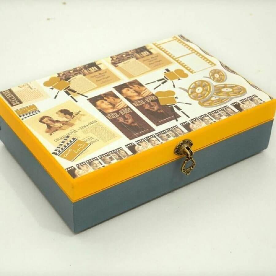 modelo de caixa de MDF decorada na tampa Foto Scrap & Artesanato Décor