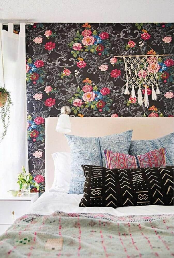 modelo de papel de parede floral para quarto Foto La Bici Azul