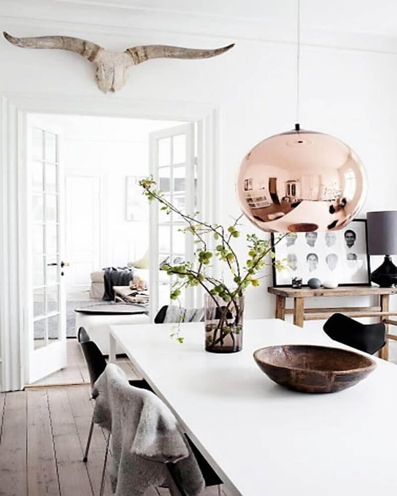 modelo de pendente para sala de jantar moderna redondo em rose gold Foto Yandex
