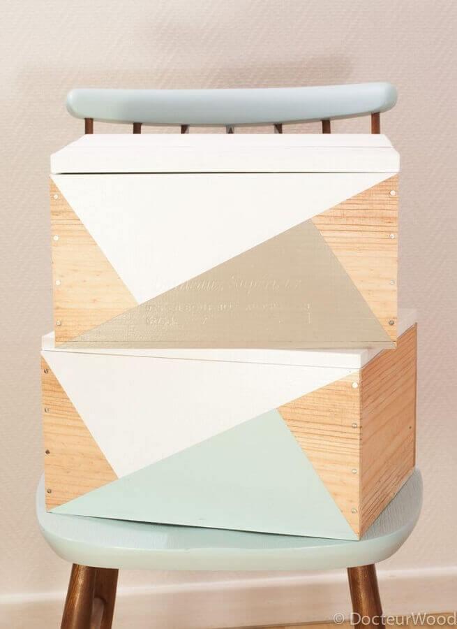 modelo moderno de caixa de madeira decorada Foto Daphné Décor&Design