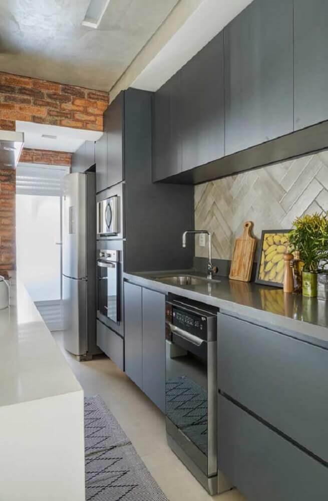 modernidade e tijolinho para decoração com armário planejado para cozinha pequena Foto The Holk
