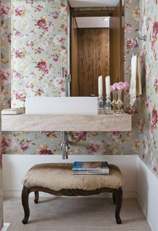 papel de parede floral romântico para decoração de banheiro Foto Doce Composeé