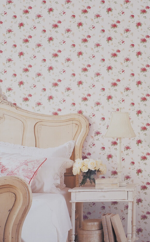 papel de parede floral romântico para decoração de quarto de casal Foto Pinterest