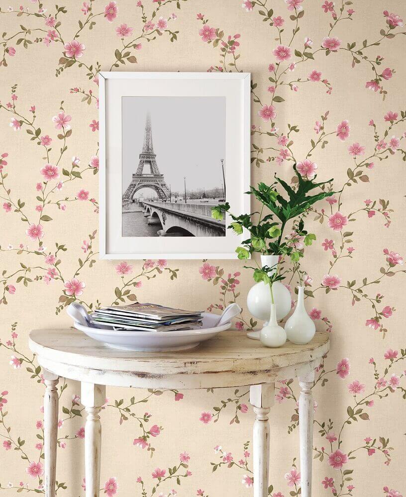 papel de parede floral rosa Foto Pinterest