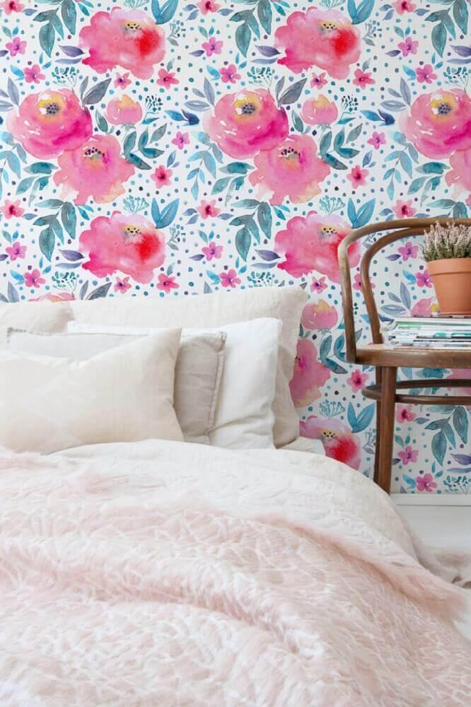 papel de parede floral rosa e azul para decoração de quarto Foto Neon Rattail