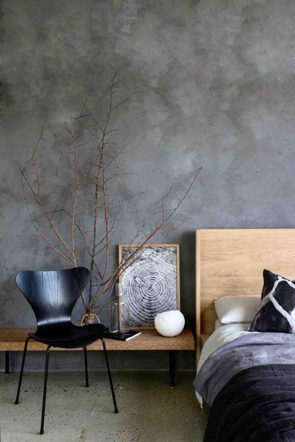 Quarto decorado com marmorato