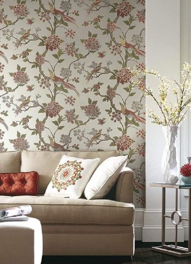 sala de estar decorada com papel de parede floral Foto Tul de Seda