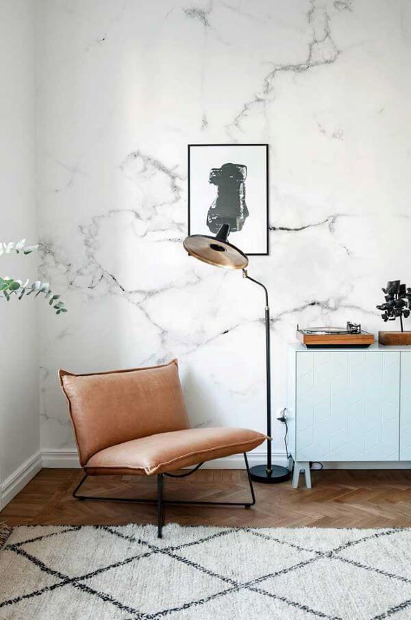 Sala de estar com efeito marmorato
