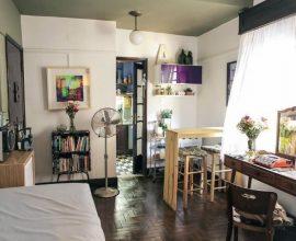 Apartamento pequeno decorado com ambientes completamente integrados Projeto de Casa Aberta