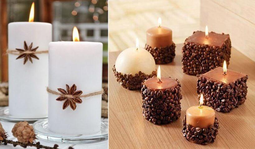 Enfeites feitos com velas de natal com café e anis Foto de Mundo das Tribos