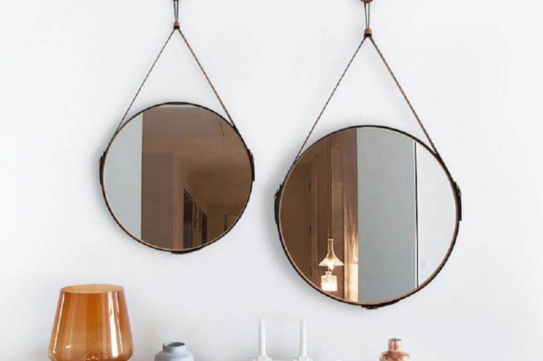 Espelhos Adnet Bondi Oruy Couro - decoração com espelho redondo com fita de couro