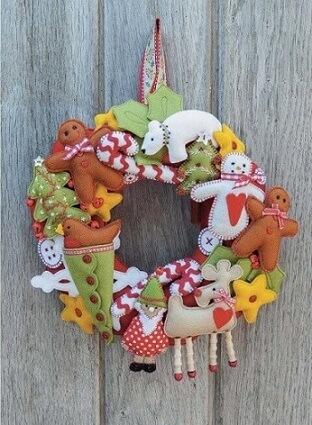 Guirlanda de natal em feltro em tons terrosos Foto de Pinterest
